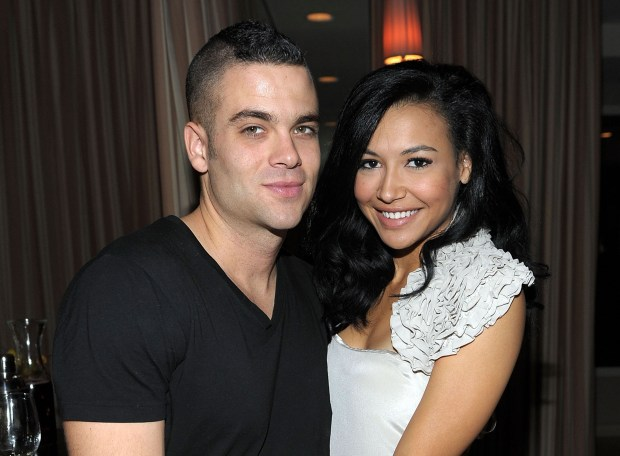 Mark Salling and Naya Rivera attend a celebration of Glee's Golden Globe nominations in 2010.