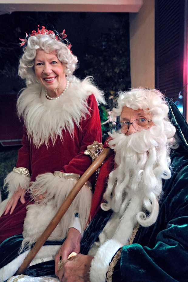 Sue and Jack Mallory as Mother and Father Christmas. They've volunteered as the Christmas characters since 2011.(Photograph by Joyce Goldschmid)
