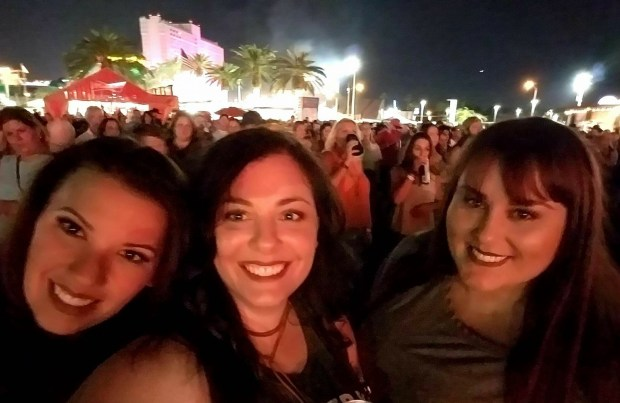 Kaitlyn Roll, a 31-year-old Santa Rosa resident, takes a photo with longtime friends Valerie Fowler and Shannon Christie at the Route 91 Harvest Festival in Las Vegas on Oct. 1, 2017, about 90 minutes before a gunman opened fire on concertgoers from the 32nd floor of the Mandalay Bay casino, killing more than 50 people and injuring more than 500, according to authorities. (Courtesy of Kaitlyn Roll)