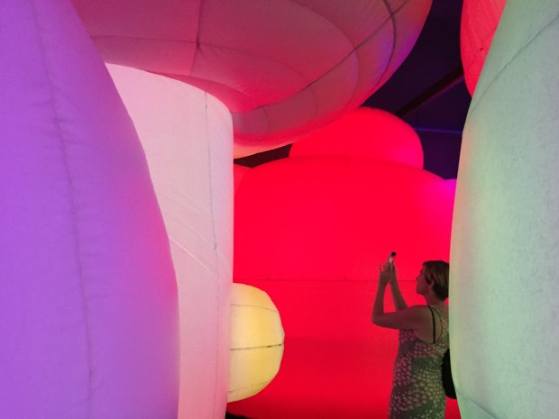 "Color surrounds visitors to ""Nature's Gift,"" an immersive art experienceopening Oct. 7 at the Oakland Museum of California. (Angela Hill/Staff)"