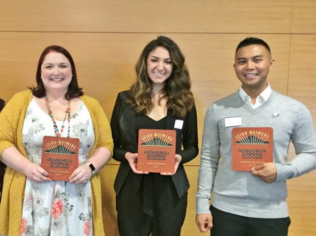 Sheila Townsend, left, Jules Pollifrone, center, and Kenneth Ronquillo arethe recipients of the fifth annual Leigh Weimers Emerging Artists Awards, which were presented Oct. 11, 2017, in downtown San Jose. (Sal Pizarro/Bay Area News Group)