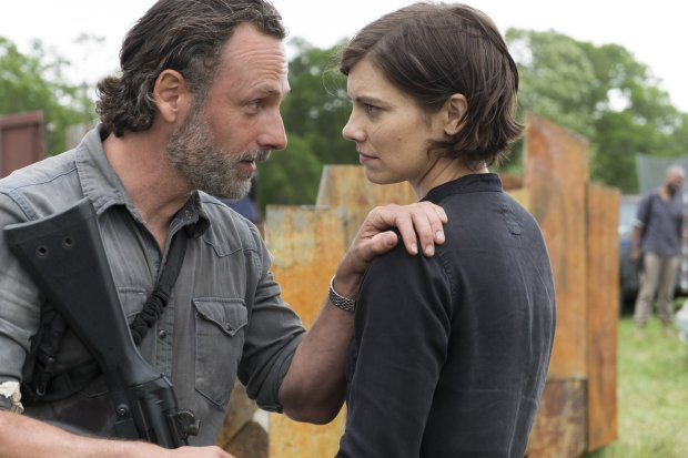 "Andrew Lincoln as Rick Grimes and Lauren Cohan as Maggie Greene in ""TheWalking Dead."" (AMC) --"