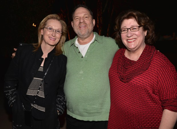 """LOS ANGELES, CA - JANUARY 05: Actress Meryl Streep, producer Harvey Weinstein and actress Margo Martindale attend a Q&A session following a screening of The Weinstein Co.'s """"August: Osage County"""" at the DGA Theater on January 5, 2014 in Los Angeles, California. (Photo by Alberto E. Rodriguez/Getty Images)"""
