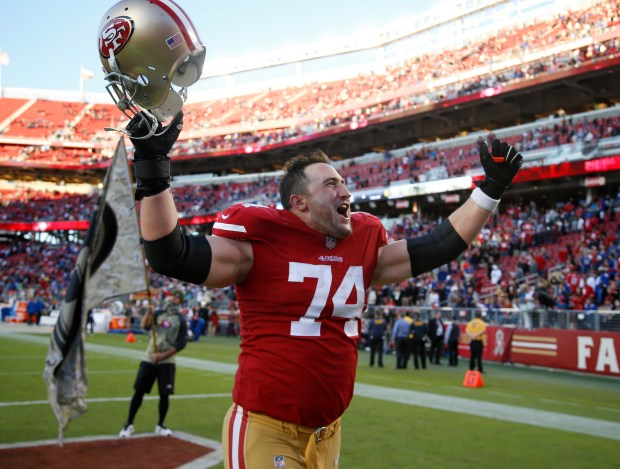 OFFENSIVE LINE: San Francisco 49ers' Joe Staley (74) cheers as he leaves the field following their 31-21 win over the New York Giants for their NFL game in Santa Clara, Calif. on Sunday, Nov. 12, 2017. (Nhat V. Meyer/Bay Area News Group)