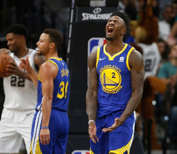 SAN ANTONIO,TX - NOVEMBER 2: Jordan Bell #2 of the Golden State Warriors reacts after a foul against the San Antonio Spurs at AT&T Center on November 2, 2017 in San Antonio, Texas. NOTE TO USER: User expressly acknowledges and agrees that , by downloading and or using this photograph, User is consenting to the terms and conditions of the Getty Images License Agreement. (Photo by Ronald Cortes/Getty Images)