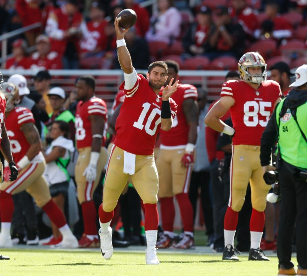San Francisco 49ers' Jimmy Garoppolo (10) throws before their game against the Arizona Cardinals for their NFL game at Levi's Stadium in Santa Clara, Calif. on Sunday, Nov. 5, 2017. (Nhat V. Meyer/Bay Area News Group)