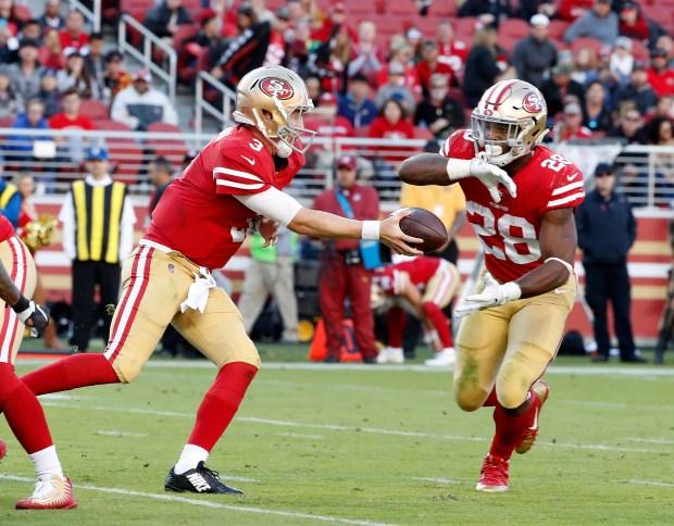 a4243d33b San Francisco 49ers starting quarterback C.J. Beathard (3) passes the ball  to San Francisco