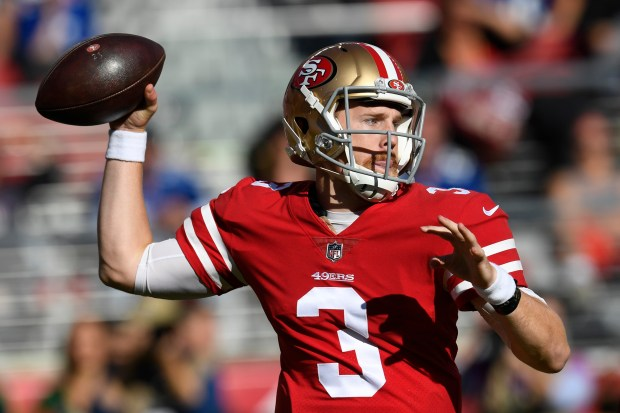 San Francisco 49ers quarterback C.J. Beathard (3) prepares to make a pass against the New York Giants during the first quarter of their NFL game at Levi's Stadium in Santa Clara, Calif., on Sunday, Nov. 12, 2017. (Jose Carlos Fajardo/Bay Area News Group)