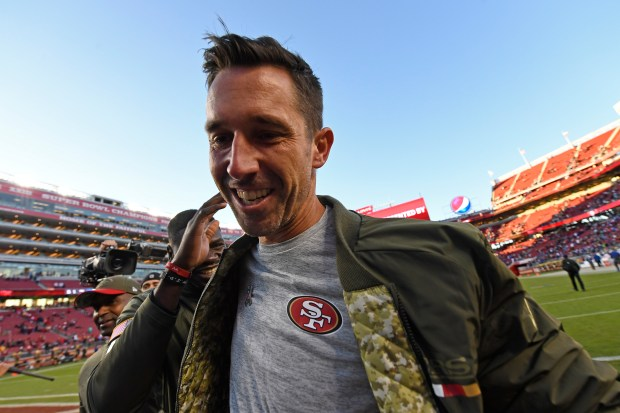 San Francisco 49ers head coach Kyle Shanahan is patted on the back as he heads to the locker room after defeating the New York Giants during their NFL game at Levi's Stadium in Santa Clara, Calif., on Sunday, Nov. 12, 2017. San Francisco defeated New York 31-21. (Jose Carlos Fajardo/Bay Area News Group)
