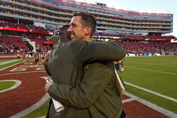 San Francisco 49ers head coach Kyle Shanahan is congratulated as he heads to the locker room after defeating the New York Giants during their NFL game at Levi's Stadium in Santa Clara, Calif., on Sunday, Nov. 12, 2017. San Francisco defeated New York 31-21. (Jose Carlos Fajardo/Bay Area News Group)