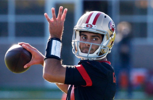 Niners quarterback Jimmy Garoppolo throws during practice at Levi's Stadium in Santa Clara, California, Nov. 29, 2017. Following Sunday's loss, 49er head coach Kyle Shanahan revealed he would be giving the team's next starting job to Jimmy Garoppolo, who came in late in Sunday's game after C.J. Beathard was injured. (Patrick Tehan/Bay Area News Group)
