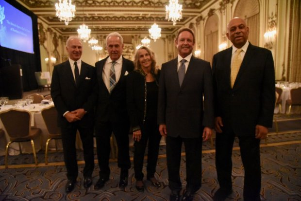 From left to right, the 2017 induction class into the Jewish Sports Hall ofFame of Northern California: polo player John Ziegler, A's broadcaster Ken Korach, Olympic gold medalist Anne Warner Cribbs, college basketball coach Ken Korach and Giants slugger Orlando Cepeda. (Photo courtesy: Jeff Bayer)