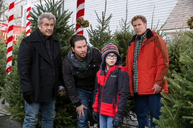 "Mel Gibson, left, Mark Wahlberg, Owen Wilder Vaccaro and Will Ferrelll in ""Daddy's Home 2."" (Claire Folger/Paramount Pictures)"