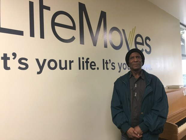 "Kenneth Mitchell, 63, who was homeless for roughly four years after completing a 10-year ""three-strikes"" prison sentence on a drug conviction, moved into a house in Los Gatos five months ago with the help of LifeMoves. The charity also helped him get employment, and he is currently working part-time at Day Worker Center of Mountain View. Mitchell, shown at LifeMoves Opportunity Services Center in Palo Alto, said he's been sober for 12 years. (Kevin Kelly / Daily News)"