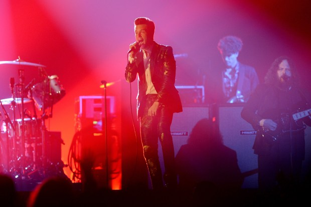 Brandon Flowers of The Killers performs on stage during the MTV EMAs 2017 held at The SSE Arena, Wembley on November 12, 2017 in London, England. (Dave J Hogan/Dave J Hogan/Getty Images)