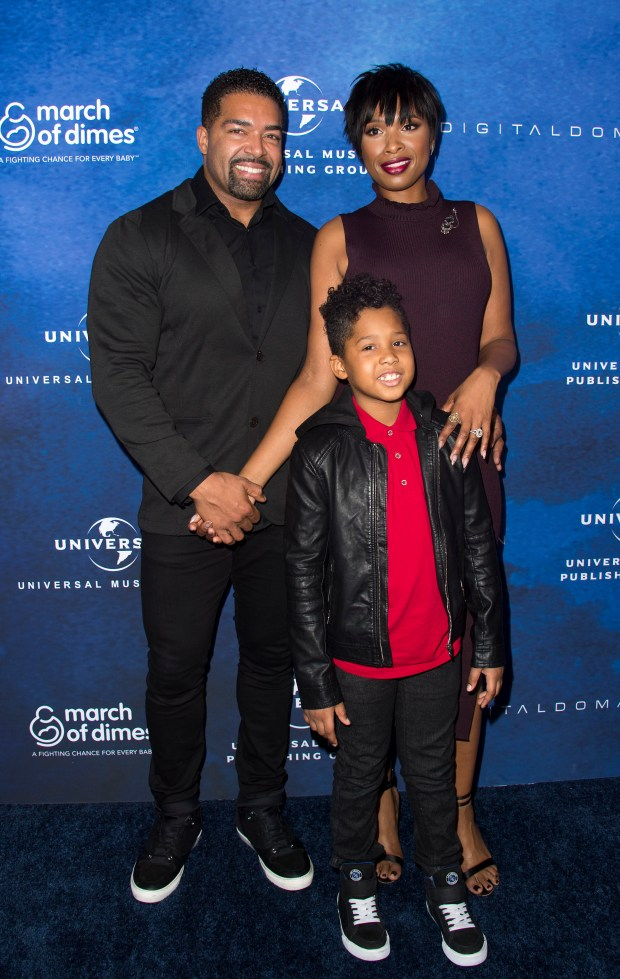 L R Wrestler David Otunga Honoree Jennifer Hudson And David Otunga Jr Attend