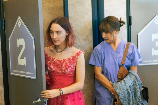 "Saoirse Ronan, left, and Laurie Metcalf in ""Lady Bird."" (Merie Wallace/A24 )"
