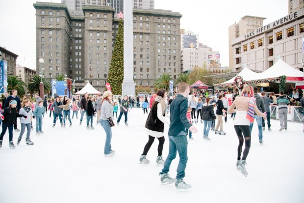 Winter holidays in San Francisco's Union Square, where the ice rink andtwinkle-lit trees are joined by a pop-up Winter Walk that includes lighted seating, live entertainment and nightly light shows. Photographer Allison Webber; Credit: Union Square Business Improvement District