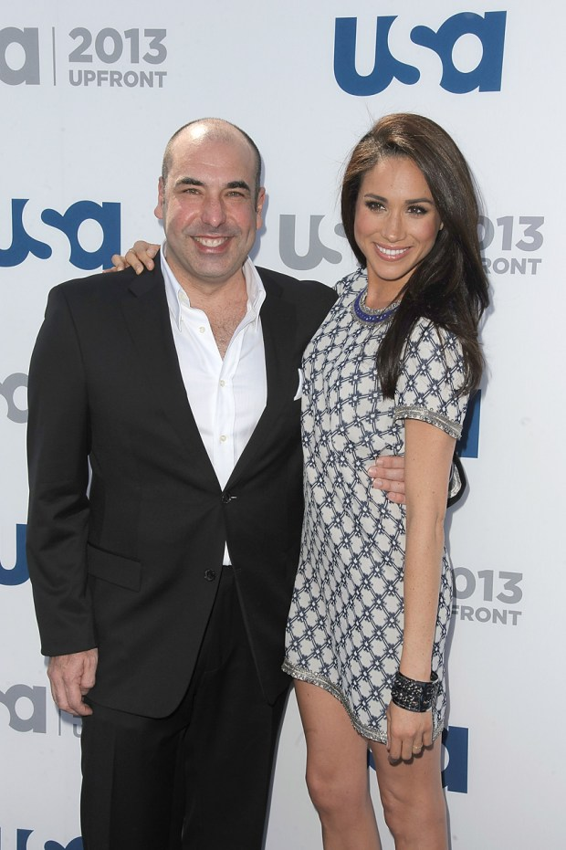 Rick Hoffman and Meghan Markle attends USA Network 2013 Upfront Event at Pier 36 on May 16, 2013 in New York City. (Photo by Dave Kotinsky/Getty Images)