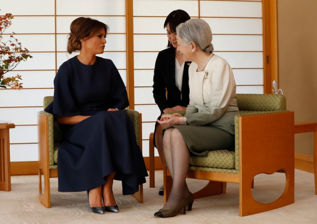 US first lady Melania Trump (L) talks with Japan's Empress Michiko (R) at the Imperial Palace in Tokyo on November 6, 2017.(ISSEI KATO/AFP/Getty Images)
