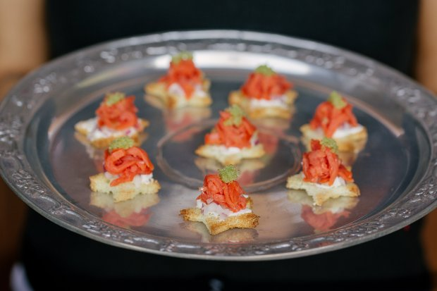 Florencia Palmaz's Smoked Salmon Stars are easy to make and beautiful topresent, especially with the finishing dollop of wasabi caviar (Photo: Briana Marie)