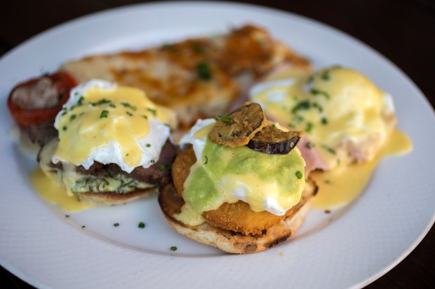 Benedict a Trois is served at Town restaurant in San Carlos, California on Saturday, November 18, 2017. (LiPo Ching/Bay Area News Group)