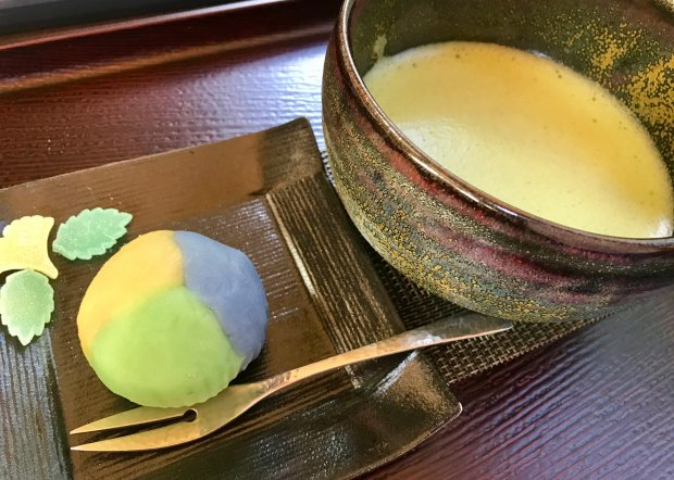 The tea and Japanese sweets served at the Portland Japanese Gardenteahouse, the Umami Cafe, range from jade green matcha with seasonal shibori, pictured, to sencha with castella, a sponge cake. (Jackie Burrell/Bay Area News Group)