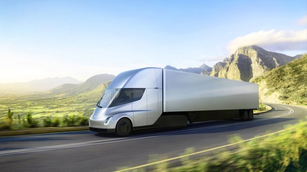Tesla's new electric semi-truck (courtesy of Tesla)