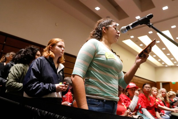 Idalys Perez a second year UC Berkeley student speaks out against UC Regent Norman Pattiz, demanding he resign during the public comment portion of the UC Regents meeting at the UCSF Mission Bay Conference Center in San Francisco, Calif., on Wednesday, Nov. 15, 2017. A group of UC Berkeley students showed up to the UC Regents meeting demanding Regent Norman Pattiz resign. (Laura A. Oda/Bay Area News Group)