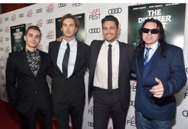 """Credit: Courtesy Greg SesteroDave Franco, Greg Sestero, James Franco and Tommy Wiseau at the South by Southwest Film Festival in March 2018 at the debut of """"The Disaster Artist."""" In the movie, which opens Dec. 1, Dave Franco plays Sestero and James Franco plays Wiseau."""