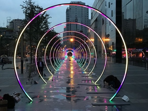 Picture two blocks of these lighted concentric circles in downtown San Jose-- and you'll have plenty of time to stroll through them. The installation goes up Nov. 3 will remain in place for two or three months. (Photo courtesy of Sonic Runway)