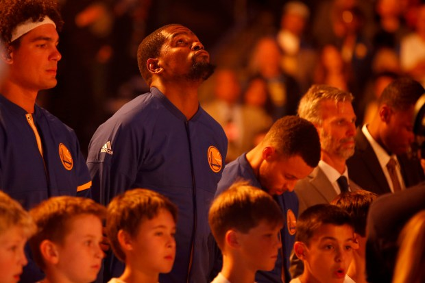 Warriors forward Kevin Durant said he feels more at peace this season. (Ray Chavez/Bay Area News Group)