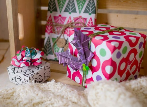 "Go green this holiday season by ""repurposing"" something you already haveinto gift packaging. One example is turning wrapping paper scraps/trimmings into bows and other decorations. (Courtesy Wrappily)"