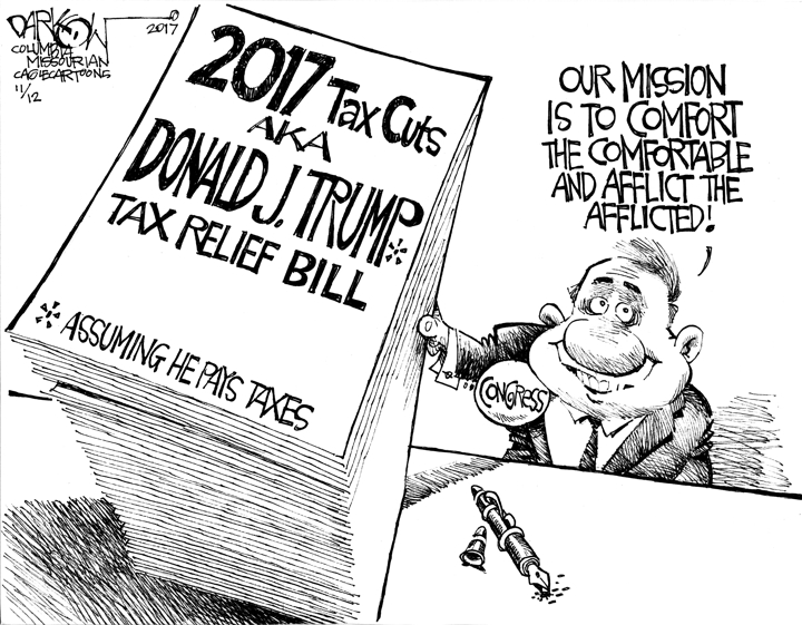 Image result for cartoons about republicans tax cuts bills