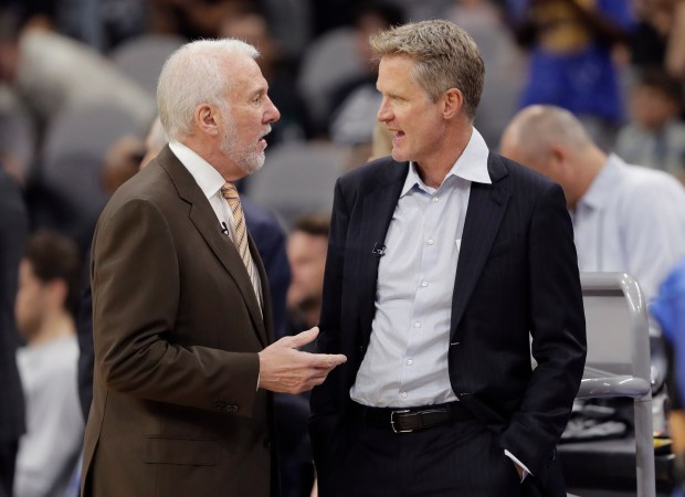 The Warriors talked about what it will take to achieve the Spurs' long-term success. (AP Photo/Eric Gay)