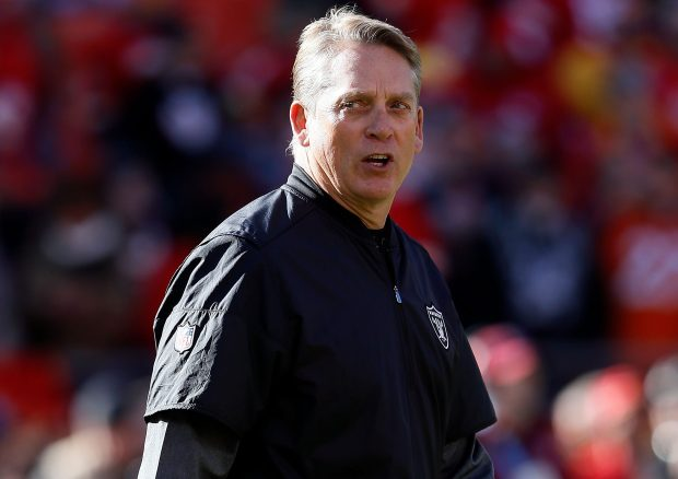 KANSAS CITY, MO - DECEMBER 10: Head coach Jack Del Rio of the Oakland Raiders walks onto the field prior to the game against the Kansas City Chiefs at Arrowhead Stadium on December 10, 2017 in Kansas City, Missouri. (Photo by Jamie Squire/Getty Images)