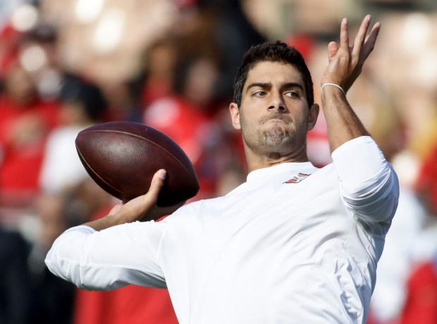 San Francisco 49ers quarterback Jimmy Garoppolo warms up before an NFL football game against the Los Angeles Rams Sunday, Dec. 31, 2017, in Los Angeles. (AP Photo/Rick Scuteri)