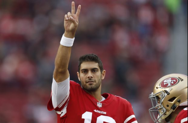 San Francisco 49ers starting quarterback Jimmy Garoppolo (10) waves to the crowd before their game against the Jacksonville Jaguars for their NFL game at Levi's Stadium in Santa Clara, Calif., on Sunday, Dec. 24, 2017. (Nhat V. Meyer/Bay Area News Group)