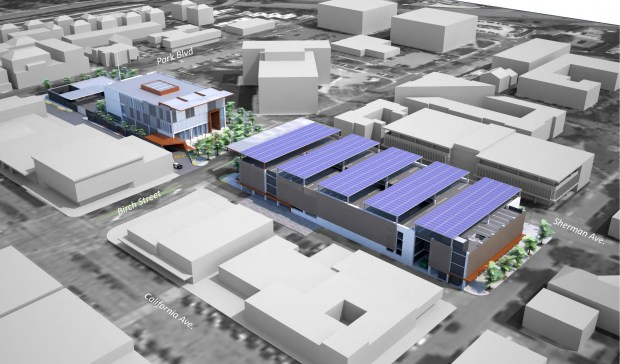 A rendering shows a new parking garage, with five solar panels on the roof, next to an adjacent new public safety building on the other side of Birch Street, which could feature an elevated walkway joining the two facilities. (City of Palo Alto)