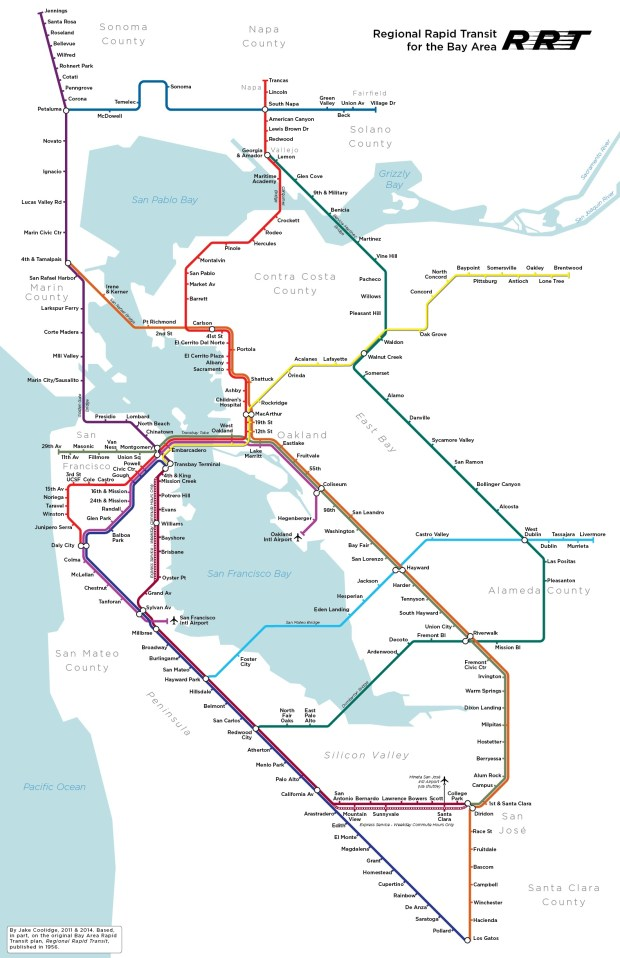 Jake Coolidge had BART on his mind a lot when he made this map showing a truly regional transit system. (Courtesy Jake Coolidge)