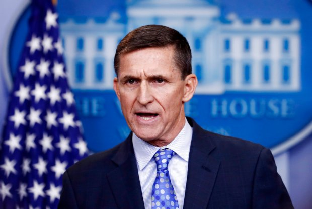 FILE - In this Feb. 1, 2017 file photo, then-National Security Adviser Michael Flynn speaks during the daily news briefing at the White House, in Washington. The few public signs emanating from special counsel Robert Mueller's investigation increasingly raise the prospect that Flynn is looking to cut a deal. But many questions remain about what charges, if any, Flynn would face and whether Mueller's prosecutors are focused on his private business dealings and truthfulness with federal agents, or if they're looking for a bigger fish like the president himself or those who remain in his inner circle.(AP Photo/Carolyn Kaster, File)
