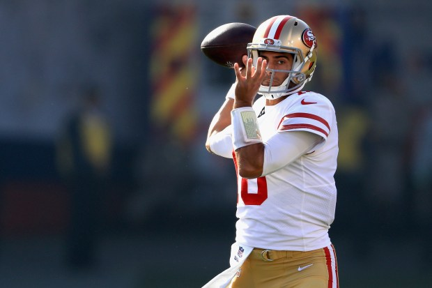 LOS ANGELES, CA - DECEMBER 31: Jimmy Garoppolo #10 of the San Francisco 49ers looks to pass during the first half of a game against the Los Angeles Rams at Los Angeles Memorial Coliseum on December 31, 2017 in Los Angeles, California. (Photo by Sean M. Haffey/Getty Images)