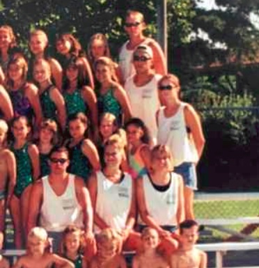 Ned Hearn, top right, is shown in this photo from a summer swim league in Dixon in 1997. Melissa Chowning, standing far right, said she was hired as an assistant coach by Hearn, who also coached her high school swim team during the year. Chowning was 16 years old in the photo and alleges Hearn coerced her into sex months after the photo was taken. Hearn, records show, was 28. (Contributed)