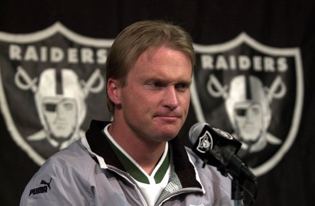 -- Oakland Raiders' coach Jon Gruden keeps a stiff upper lip during a media conference Monday, Jan. 8, 2001, at Raider headquarters in Alameda, Calif. Gruden's Raiders will face the Baltimore Ravens for the AFC Championship in Oakland, Calif., on Sunday, Jan. 14, 2001. (AP Photo/Ben Margot)