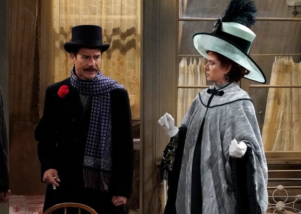 "WILL & GRACE -- ""A Gay Olde Christmas"" Episode 109 -- Pictured: (l-r) Sean Hayes as John Patrick McGee, Eric McCormack as Billem Van Williams, Debra Messing as Fanny Van Williams, Megan Mullally as Karolyn O?'Malley -- (Photo by: Chris Haston/NBC)"