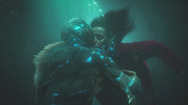 "The sea creature, played by Doug Jones, left, and Elisa, played by SallyHawkins, in ""The Shape of Water."" (Fox Searchlight Pictures)"