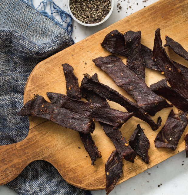 Homemade beef jerky is not only surprisingly easy to make, it's a perfect garnish for thecocktails in Ellen Brown's new