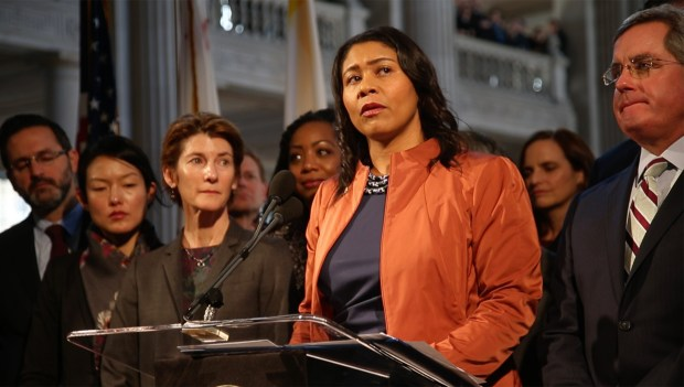 San Francisco Board of Supervisors President London Breed, now the city's acting mayor, speaks in the San Francisco City Hall rotunda following the death of Mayor Edwin Lee, Tuesday, Dec. 12, 2017. (Karl Mondon/Bay Area News Group)