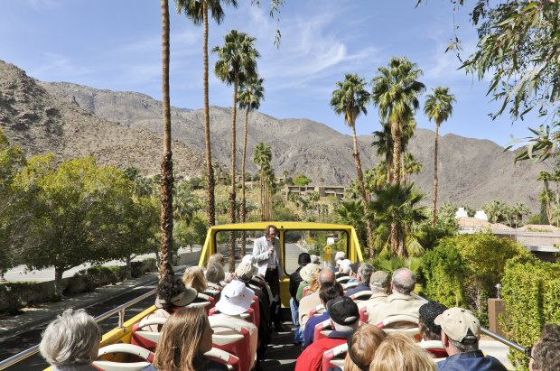 Many of Palm Springs' architectural gems are hidden behind tall walls andhedges, but the double-decker bus used on Palm Springs' Modernism Week architectural tours lets you peek into homes once owned by Elizabeth Taylor, Kirk Douglas and Dean Martin.(Courtesy David A. Lee)