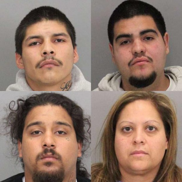 Clockwise from top left, Angel SantaCruz, Jose Alcantar, Alicia Vallejo, and Joseph Duran are suspects in the Dec. 18, 2016 shooting death of 18-year-old Cesar Ponce Sanchez at a West San Jose gas station. Duran remains at large. (San Jose Police Dept.)
